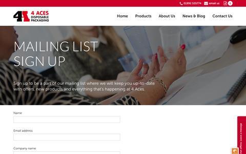 Screenshot of Signup Page 4acesltd.com - Four Aces Ltd » Mailing List Sign Up - captured Aug. 11, 2016