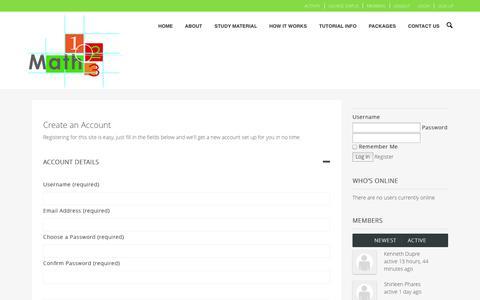 Screenshot of Signup Page math123.co.za - Create an Account | Math 123 - captured Nov. 2, 2014