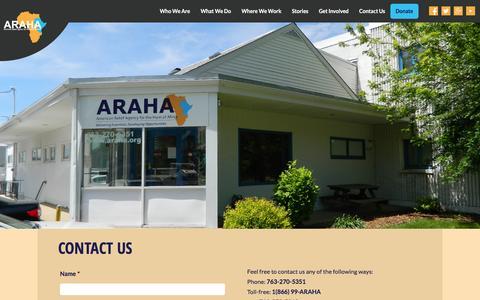 Screenshot of Contact Page araha.org - Contact Us | ARAHA - captured March 15, 2016