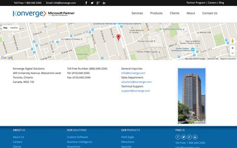 Screenshot of Contact Page konverge.com - Custom Software Development Toronto, Custom Software | Konverge - captured Feb. 12, 2016