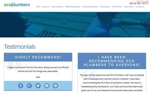Screenshot of Testimonials Page ecoplumbers.com - Testimonials   Columbus Plumbers - captured Dec. 16, 2016