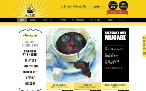 Screenshot of Home Page auroratheatre.org - Aurora Theatre Company - Home - captured Oct. 4, 2014