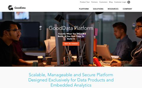 Screenshot of Products Page gooddata.com - Analytics Distribution Platform | GoodData - captured May 21, 2016
