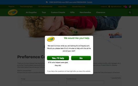 Screenshot of Signup Page crayola.com - sign-up | crayola.com - captured Feb. 16, 2016