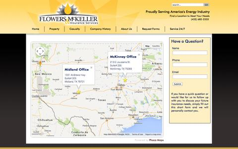 Screenshot of Locations Page fm-ins.com - Flowers & McKeller | Office Locations | Insurance Services | Oil & Gas Insurance - captured Oct. 6, 2014