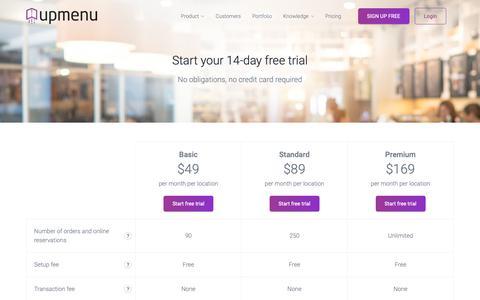 Screenshot of Pricing Page upmenu.com - Pricing - Check prices or contact us | upmenu.com - captured Oct. 20, 2018