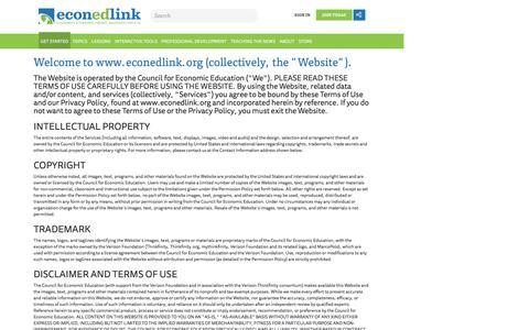 Screenshot of Terms Page econedlink.org - | Econedlink - captured Oct. 25, 2016
