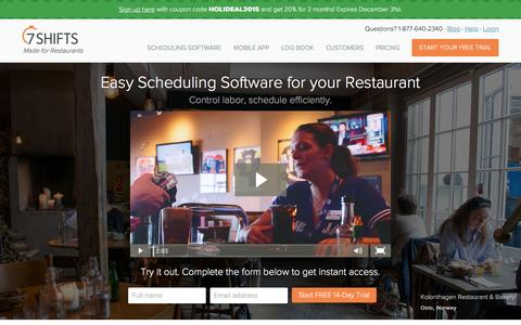 Screenshot of Home Page 7shifts.com - Easy Restaurant Scheduling Software. Try it Free. | 7shifts - captured Dec. 20, 2015