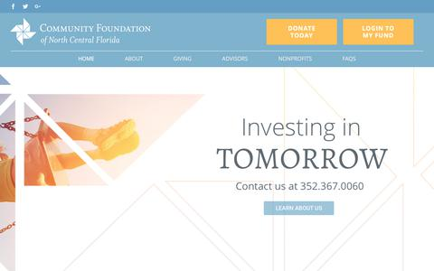 Screenshot of Home Page cfncf.org - Community Foundation of North Central Florida - captured Aug. 16, 2017