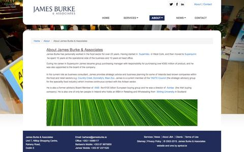 Screenshot of About Page jamesburke.ie - About | James Burke and Associates Food and Retail Consultants - captured Feb. 11, 2016