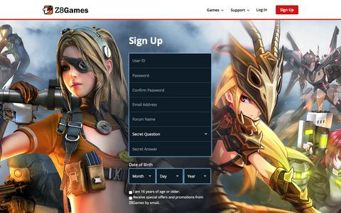 Screenshot of Signup Page z8games.com - Z8Games - Free Gaming. Evolved. - captured Sept. 21, 2018