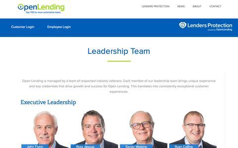 Screenshot of Team Page openlending.com - Leadership Team – Open Lending - captured Feb. 16, 2019