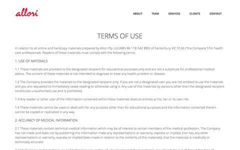 Screenshot of Terms Page allori.com.au - Allori – Terms of Use - captured Oct. 29, 2014