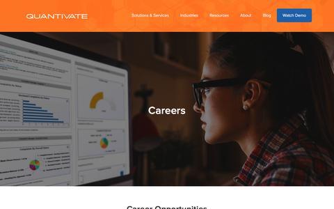 Screenshot of Jobs Page quantivate.com - Careers - Quantivate - captured Aug. 18, 2017