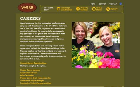 Screenshot of Jobs Page webbland.com - Careers - Webb Landscape, Inc. | Ketchum, Hailey, Bellevue, & Twin Falls Idaho - captured Oct. 9, 2014