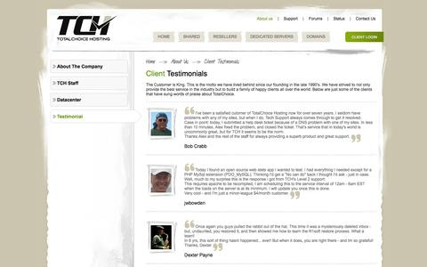 Screenshot of Testimonials Page totalchoicehosting.com - Testimonials | Totalchoice Hosting - captured Nov. 26, 2015