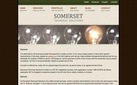 Screenshot of Terms Page somersettechsolutions.co.uk - Terms & Conditions   Somerset Technical Solutions - captured Oct. 6, 2014