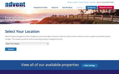 Screenshot of Locations Page adventmgmt.com - Locations | Advent Property Management - captured Nov. 2, 2014