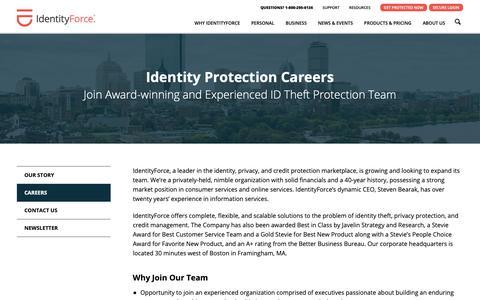 Screenshot of Jobs Page identityforce.com - IdentityForce career opportunities | IdentityForce® - captured Nov. 6, 2018