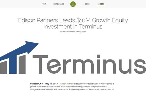 Screenshot of Press Page edisonpartners.com - Edison Partners Leads $10M Growth Equity Investment in Terminus - captured May 22, 2017