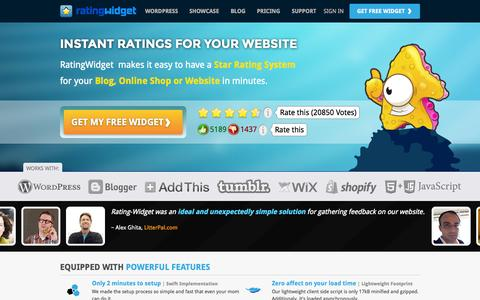 Screenshot of Home Page rating-widget.com - Star Rating System for Websites | RatingWidget - captured Sept. 19, 2014