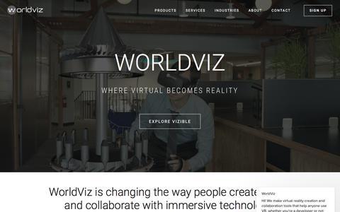Screenshot of Home Page worldviz.com - WorldViz says… - captured July 12, 2018