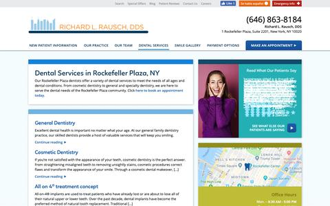 Screenshot of Services Page midtown-dentist.com - Dental Services in New York | General, Family, & Cosmetic Dentistry in Rockefeller Plaza , New York | Richard L. Rausch, DDS - captured Nov. 1, 2018