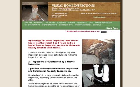 Screenshot of Home Page visualhomeinspections.com - Visual Home Inspections in Southern Oregon - Home Page - captured Oct. 7, 2014