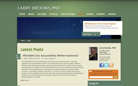 Screenshot of Blog drlarrybrooks.com - Blog - Larry Brooks, PHD - Larry Brooks, PHD - captured Oct. 2, 2014