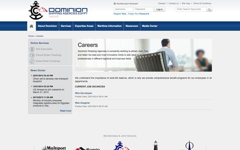 Screenshot of Jobs Page dominion-egypt.com - Dominion Shipping Agencies (Egypt) - captured Oct. 6, 2014