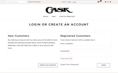 Screenshot of Login Page caskstore.com - Customer Login - captured July 16, 2018