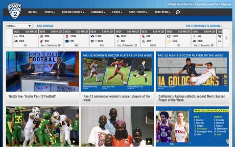 Screenshot of Home Page pac-12.com - Pac-12 - captured Sept. 26, 2018