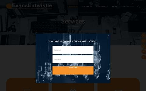 Screenshot of Services Page evansentwistle.co.uk - How can we help your business? - captured Sept. 29, 2018