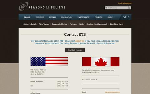 Screenshot of Contact Page reasons.org - Reasons To Believe : About : Contact Us - captured Sept. 19, 2014