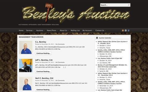 Screenshot of Team Page auctionsouthwest.com - Management Team | Bentley & Associates, LLC - The Southwest's Premier Auction Company - captured Oct. 5, 2014