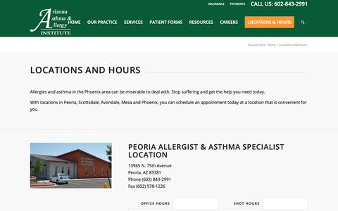 Screenshot of Locations Page Hours Page azsneeze.com - Locations and Hours – Arizona Asthma and Allergy Institute - captured Oct. 2, 2018