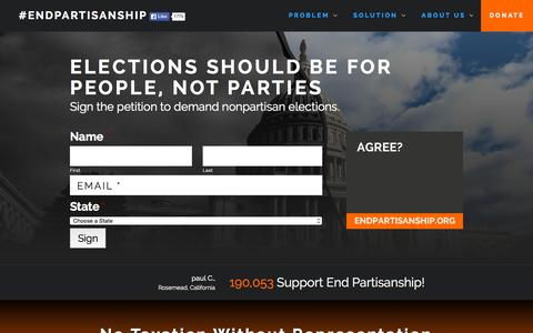 Screenshot of Home Page endpartisanship.org - #EndPartisanship - Advocating for nonpartisan primaries and elections - captured Sept. 18, 2015