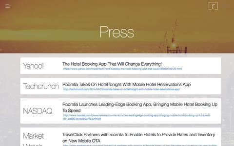 Screenshot of Press Page roomlia.com - Press › roomlia - captured Oct. 29, 2014