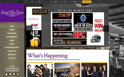 Screenshot of Home Page grandvillacasino.com - Grand Villa Casino Hotel & Conference Centre | Gaming Restaurants Sports Live Entertainment | Burnaby BC Canada - captured Sept. 30, 2014