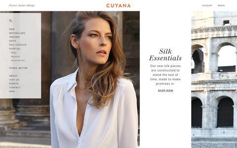 Screenshot of Home Page cuyana.com - Cuyana | Women's Premium Essentials. | Fewer, Better Things. - captured Oct. 8, 2015