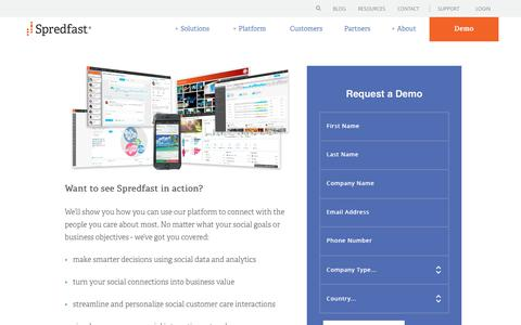 Screenshot of Demo Page spredfast.com - Spredfast Social Marketing Software | Request a Demo | Spredfast - captured Aug. 24, 2017