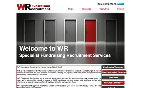 Screenshot of Home Page work-relief.org.uk - Fundraising Recruitment   United Kingdom   WR Fundraising Recruitment - captured Oct. 20, 2018