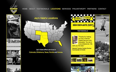 Screenshot of Locations Page jaysvalet.com - LOCATIONS - Jay's Valet | Valet Parking, Luxury Transportation, Pedicab - captured Feb. 11, 2016