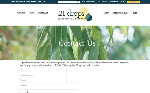 Screenshot of Contact Page 21drops.com - Contact 21 drops – 21 drops Essential Oils - captured Aug. 2, 2017