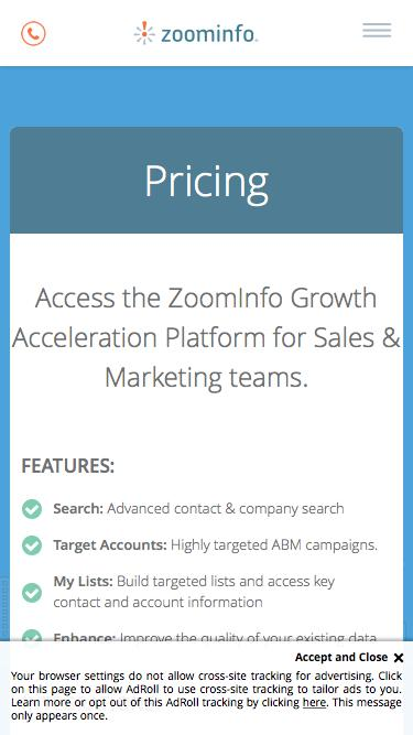 Screenshot of Pricing Page  zoominfo.com - Pricing | ZoomInfo