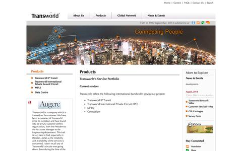 Screenshot of Products Page tw1.com - Transworld Associates - captured Sept. 18, 2014