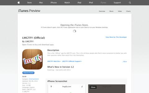 Screenshot of iOS App Page apple.com - LMGTFY (Official) on the App Store on iTunes - captured Oct. 23, 2014