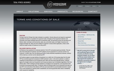 Screenshot of Terms Page afproducts.com - Advantage Fitness Products: Terms and Conditions of Sale - captured Oct. 10, 2014