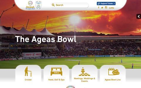 Screenshot of Home Page ageasbowl.com - The Ageas Bowl   Hilton Hotel   Event Venue   Hampshire Cricket · The Ageas Bowl - captured Jan. 25, 2016