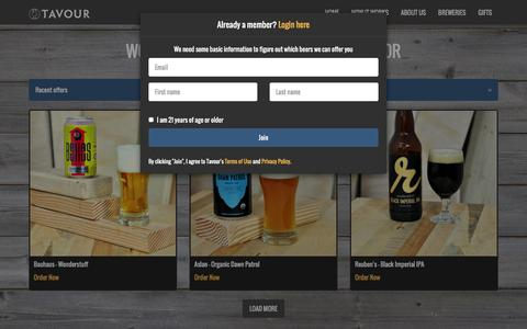 Screenshot of Home Page tavour.com - Tavour - World's best local beers to your door - captured March 5, 2016
